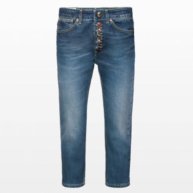 Jeans cropped in denim fisso