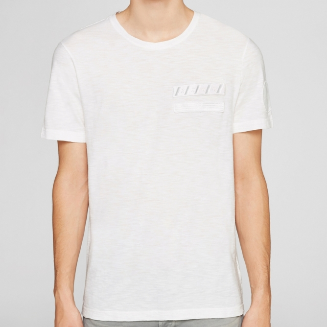 t-shirt military mood - bianco