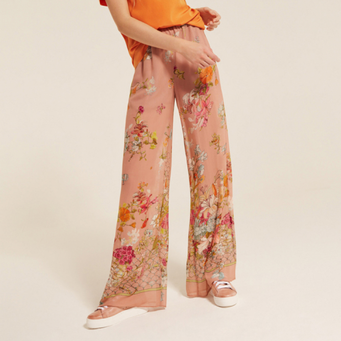 Pantaloni in georgette a fiori Semicouture